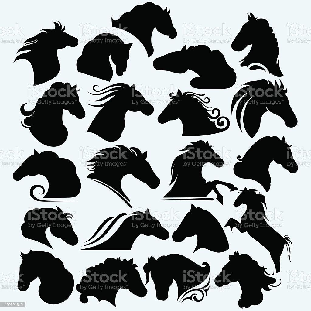 Set icon wild horses vector art illustration