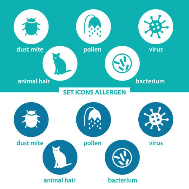 stockillustraties, clipart, cartoons en iconen met set iconen allergeen. groep allergenen in gekleurde cirkels op donkere en witte achtergrond. allergeen-dier, huisstofmijt, stuifmeel, virus, bacterie. - dierenhaar