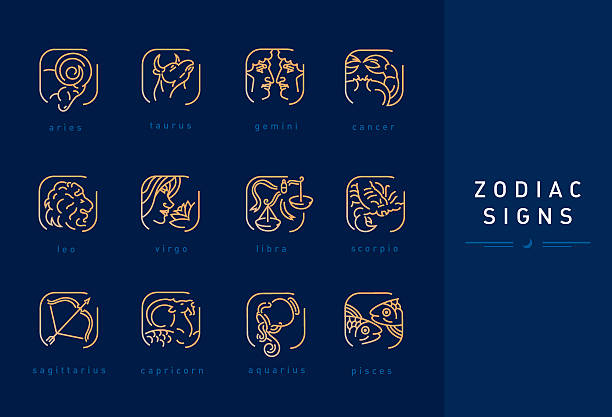 Set icons astrological signs of the zodiac vector art illustration