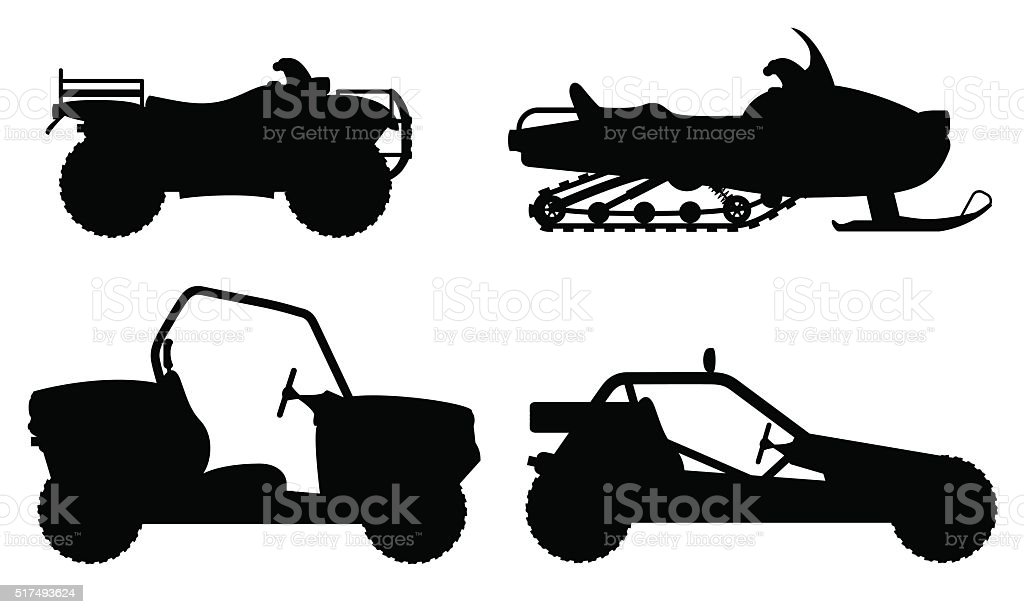 set icons atv automobile off roads black outline silhouette vect vector art illustration