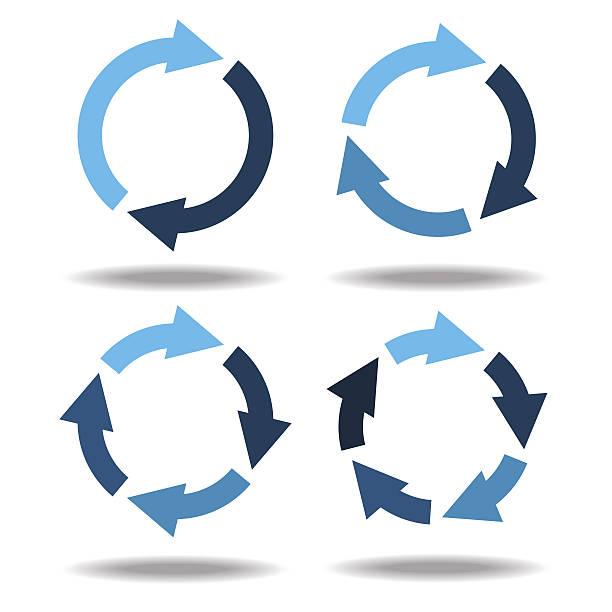 zestaw ikony koło strzałki.  diagram kołowy - rower stock illustrations