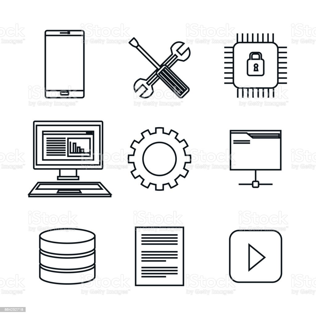 set icons database center server isolated royalty-free set icons database center server isolated stock vector art & more images of analyzing