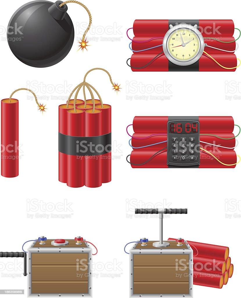 set icons detonating fuse and dynamite vector illustration vector art illustration