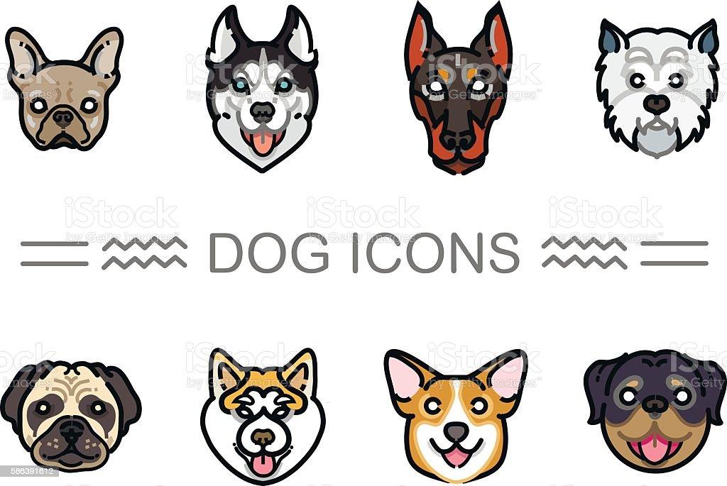 Set icons dogs – artystyczna grafika wektorowa
