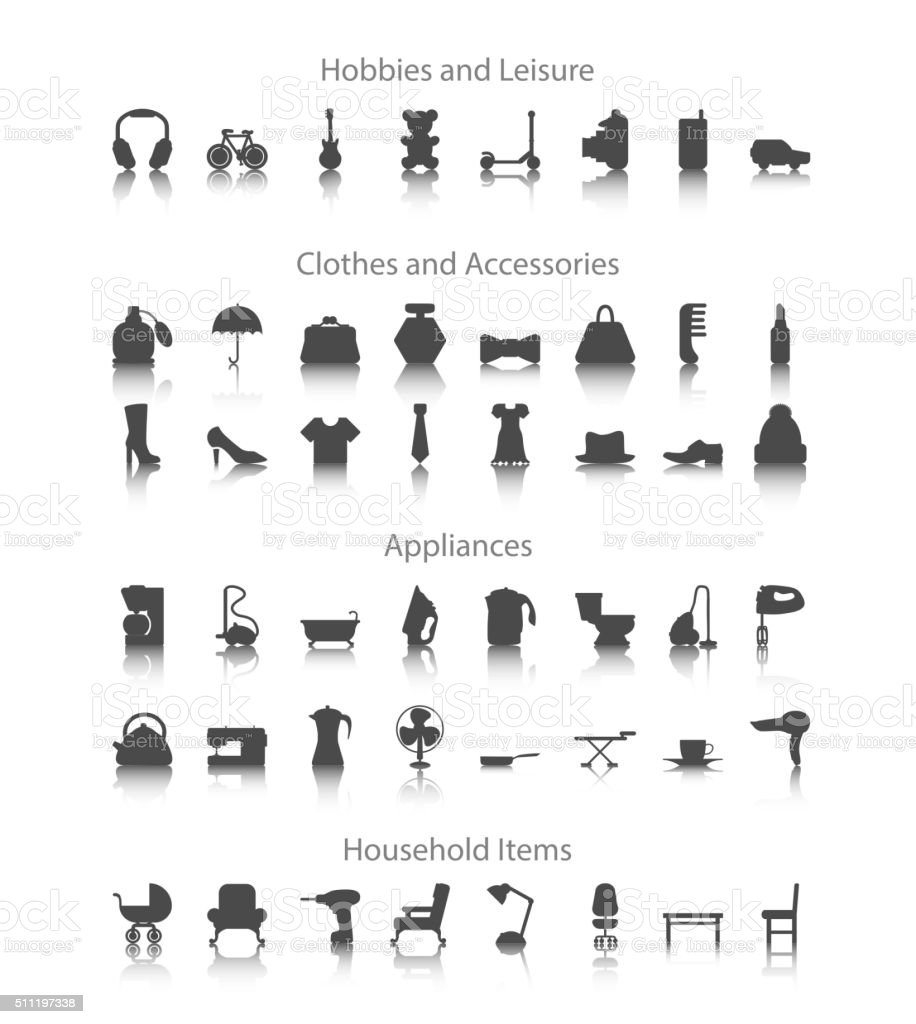 Set icons fo hobbies leisure household clothes accessories set icons fo hobbies leisure household clothes accessories appliances royalty stopboris Image collections