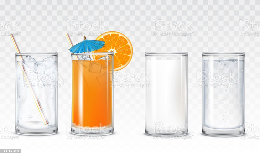 Set icons glasses with water, juice and milk vector art illustration