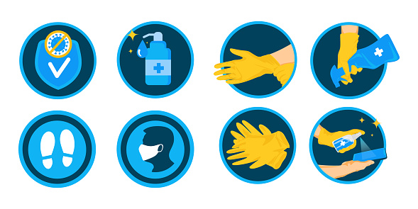 Set icons. Items Of protection against flu and coronavirus such as: antibacterial, mask, covered gloves, social distance, and more