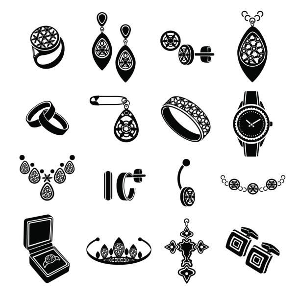 inmitten sie vektor symbole schmuck. schwarze flache symbole isoliert auf weißem hintergrund - modeschmuck stock-grafiken, -clipart, -cartoons und -symbole