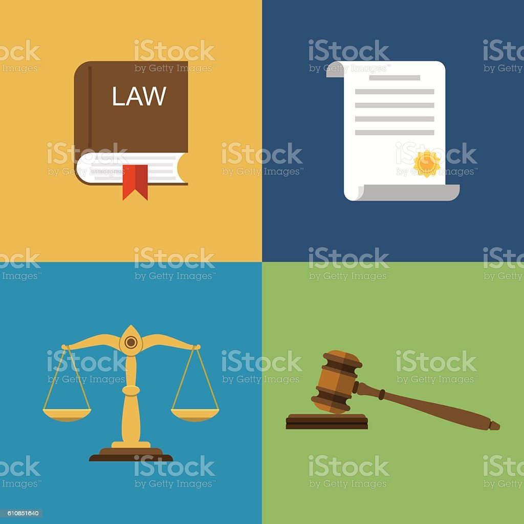 Set icons law and justice vector art illustration