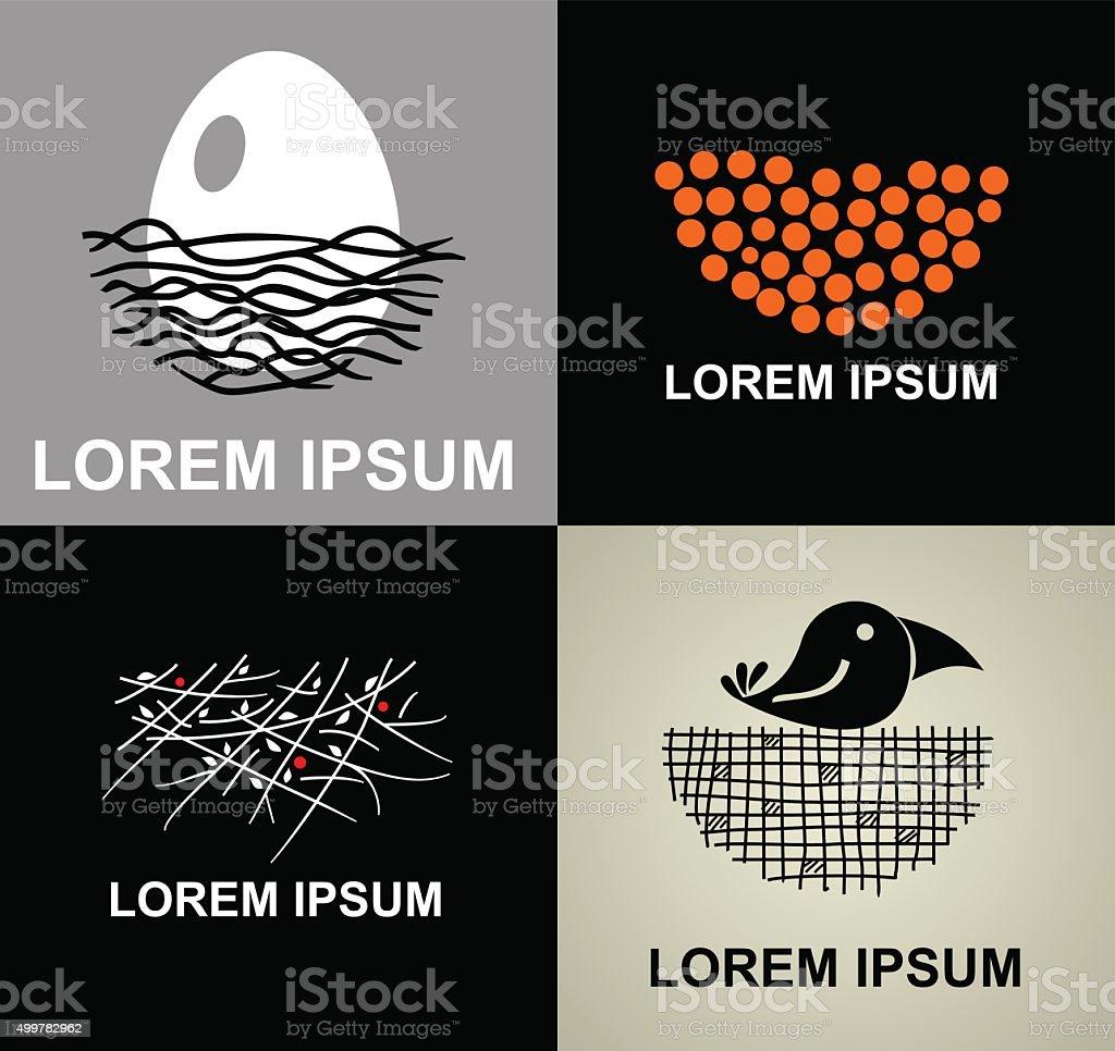 Set icons nest. vector art illustration