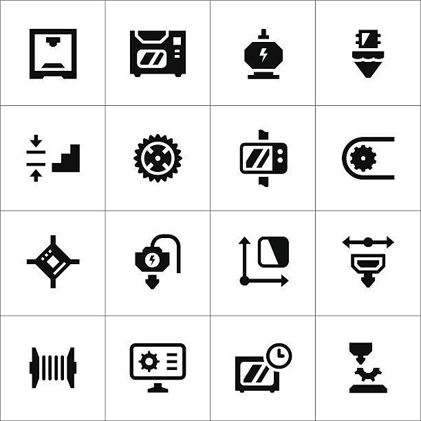 illustrations, cliparts, dessins animés et icônes de ensemble d'icônes de 3d et d'impression - infographie industrie manufacture production
