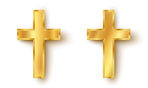골든 크로스의 아이콘을 설정 - 십자가 stock illustrations