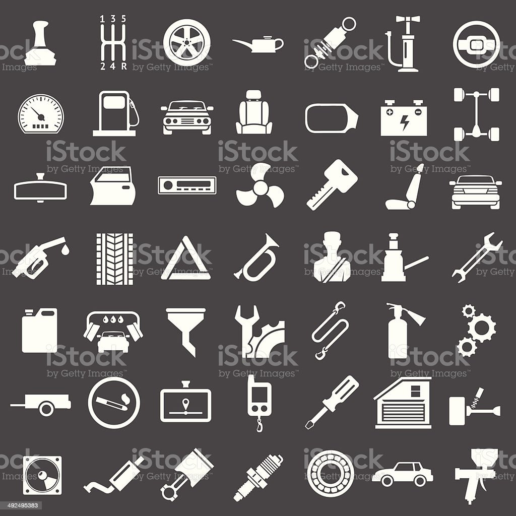 Set icons of auto, car parts, repair and service vector art illustration