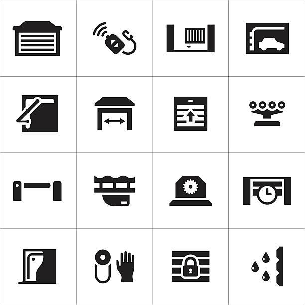 Set icons of automatic gates vector art illustration
