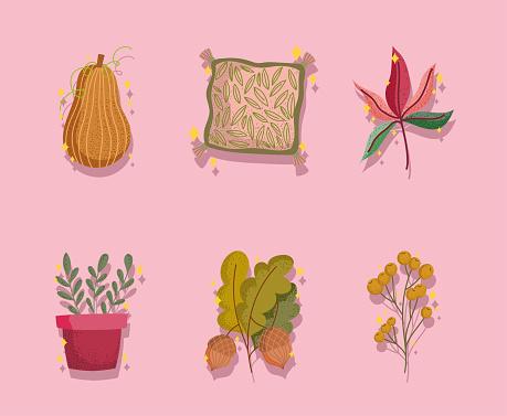 set icons of autumn