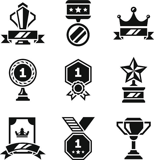 Set icons of awards and trophy Set icons of awards and trophy isolated on white. This illustration - EPS10 vector file. crown headwear stock illustrations