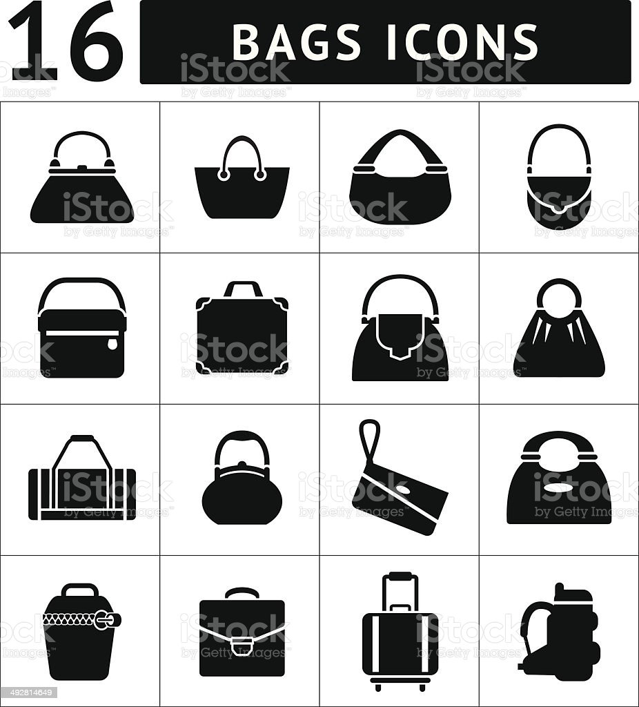 Set icons of bags vector art illustration