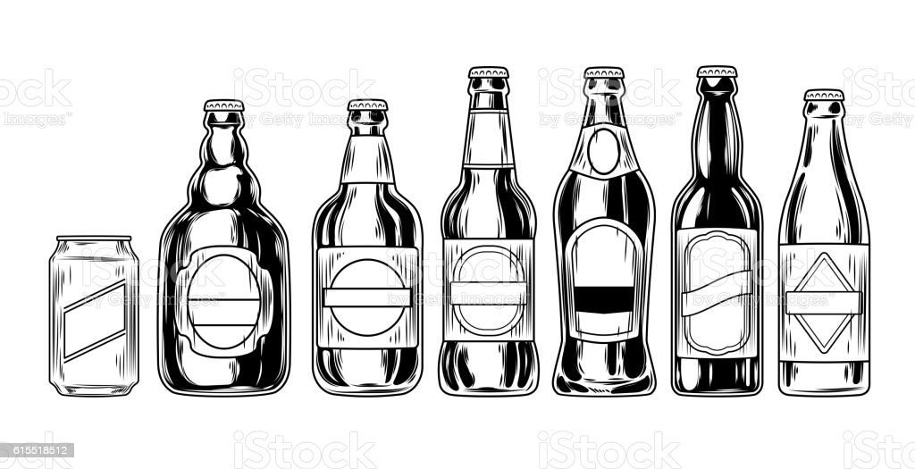 Set icons of beer bottles vector art illustration