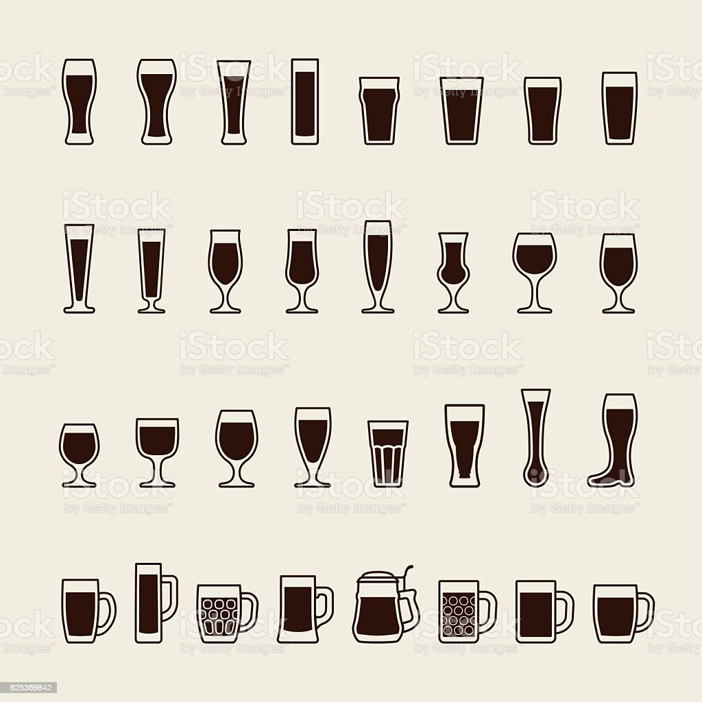 Set icons of beer glass silhouettes. Vector vector art illustration