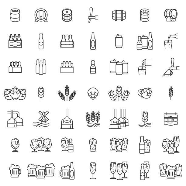 set icons von bier. gläser bier, hopfen, malz, flaschen, dosen und fässer mit umrissen. vektor-illustration isoliert auf einem weißen hintergrund für design und web. - bierfass stock-grafiken, -clipart, -cartoons und -symbole