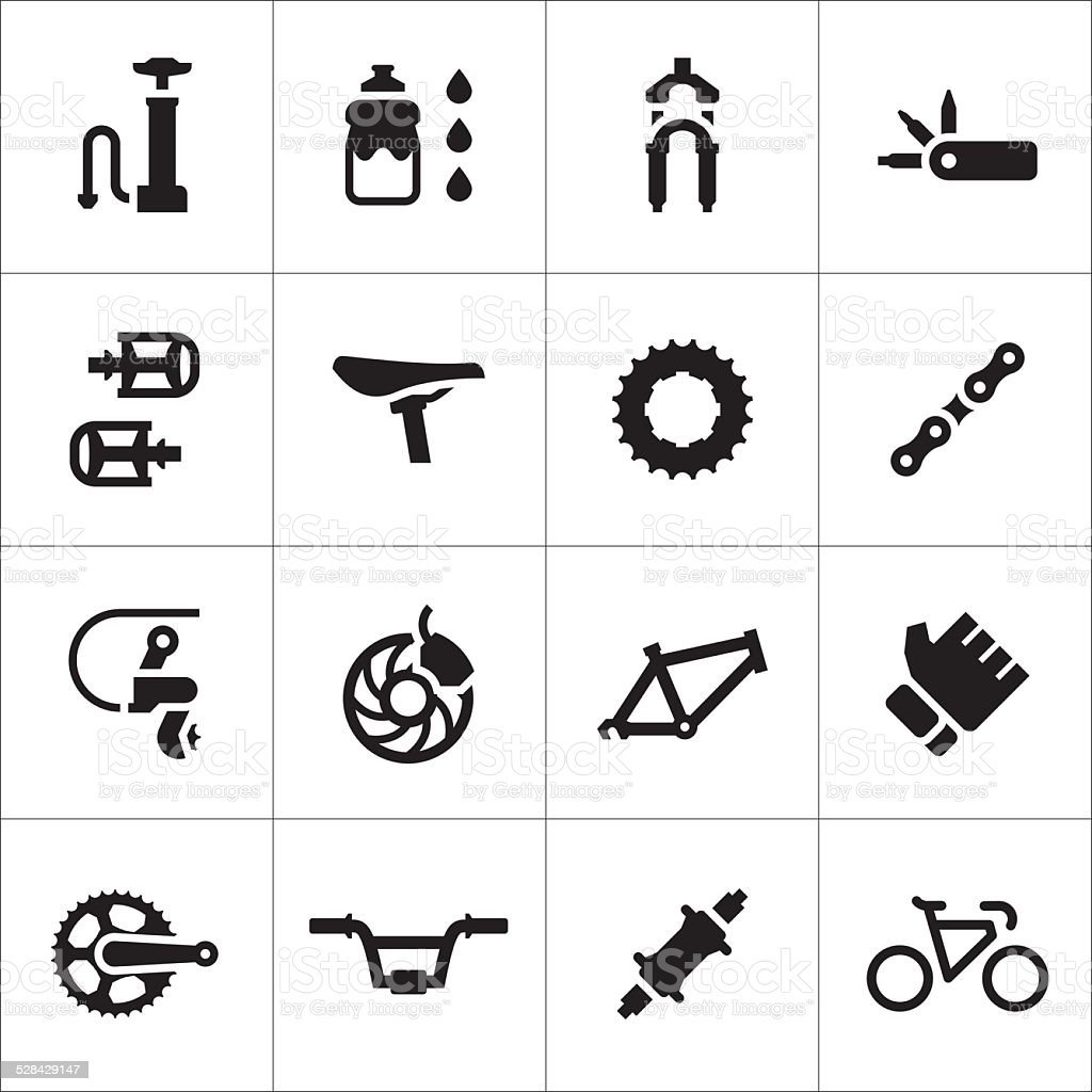 Set icons of bicycle parts and accessories vector art illustration