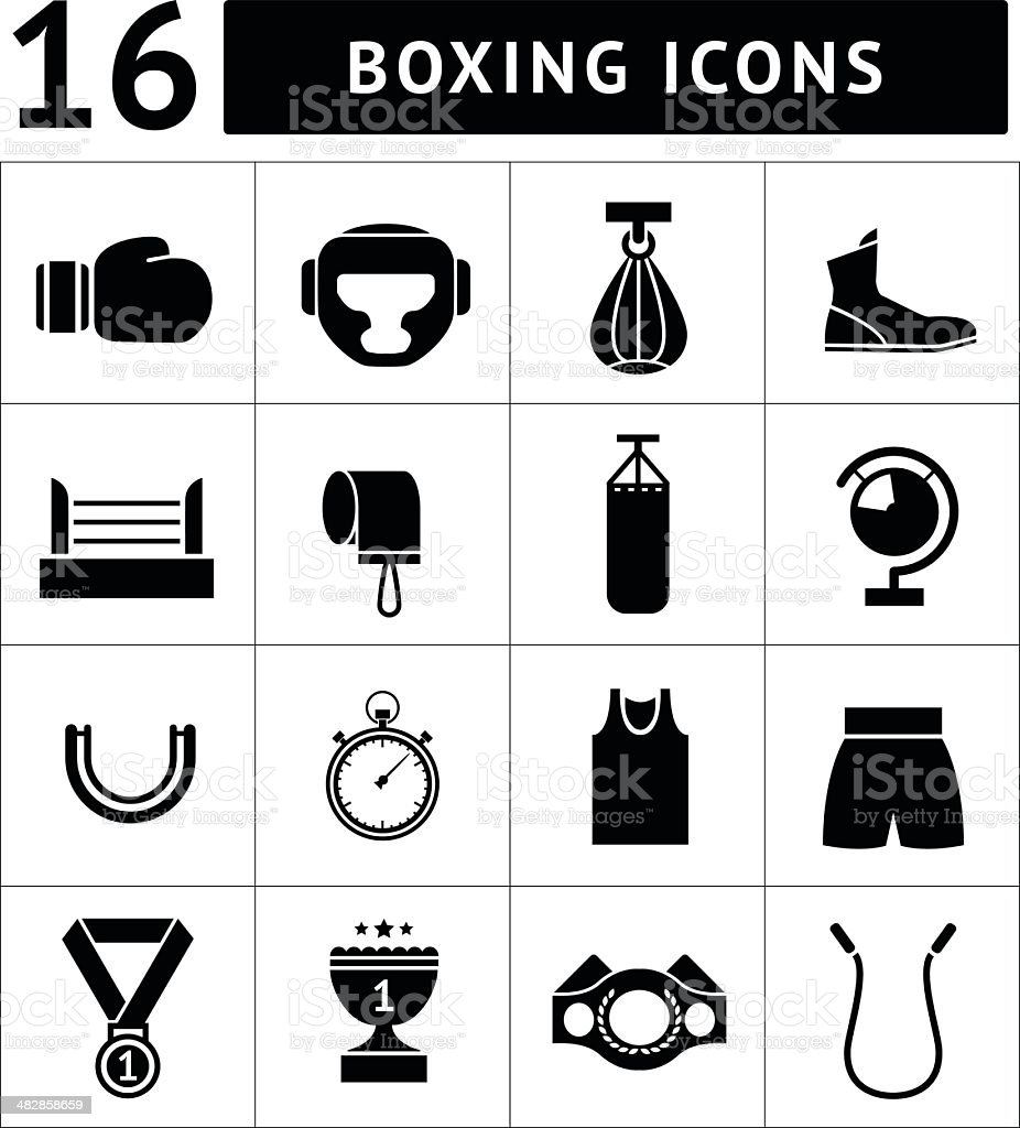 Set icons of boxing vector art illustration