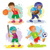 Set of vector icons of boys playing basketball, American football, baseball and soccer