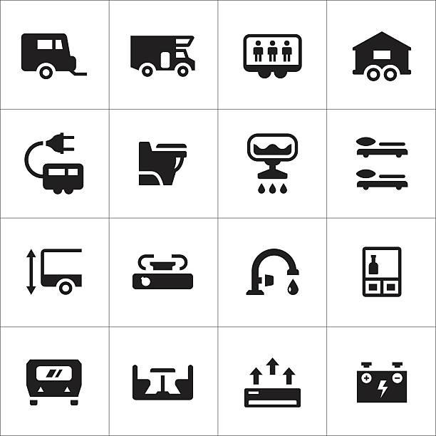 Set icons of camper, caravan, trailer Set icons of camper, caravan, trailer isolated on white. This illustration - EPS10 vector file. rv interior stock illustrations