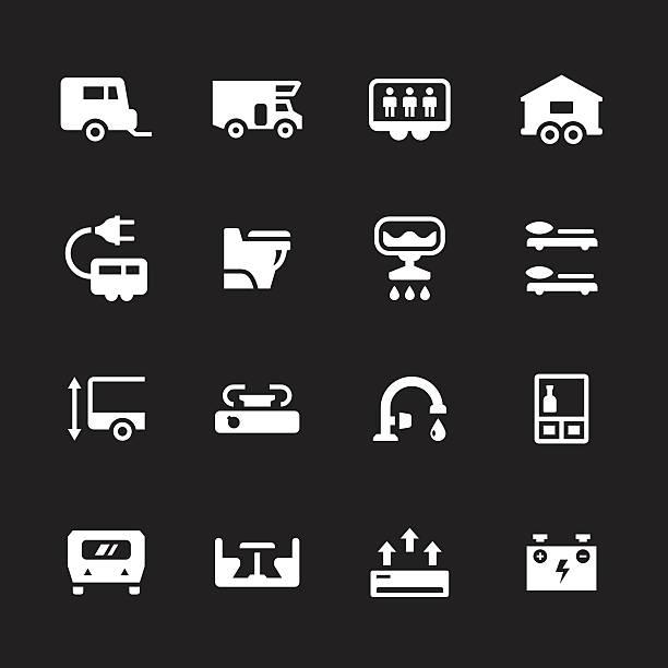 Set icons of camper, caravan, trailer Set icons of camper, caravan, trailer isolated on black. This illustration - EPS10 vector file. rv interior stock illustrations