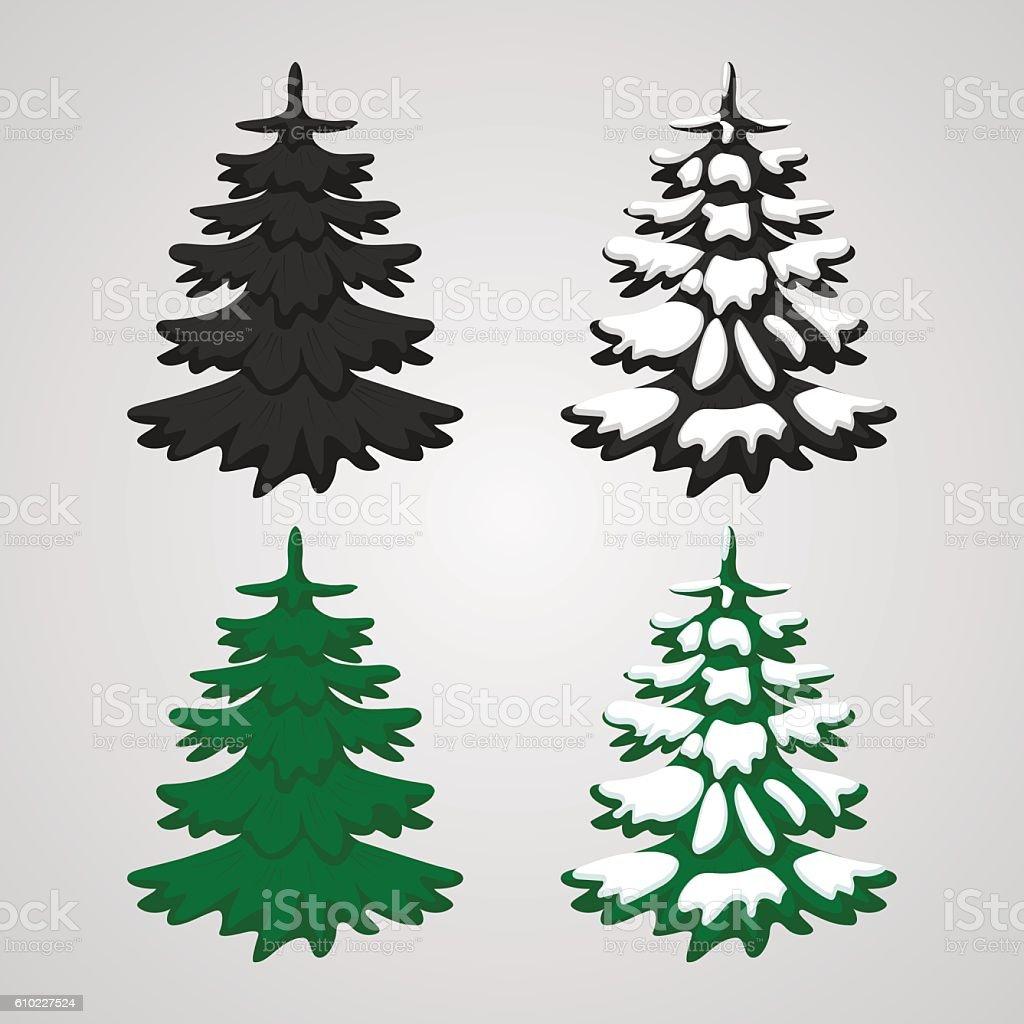 Set icons of Christmas trees vector art illustration