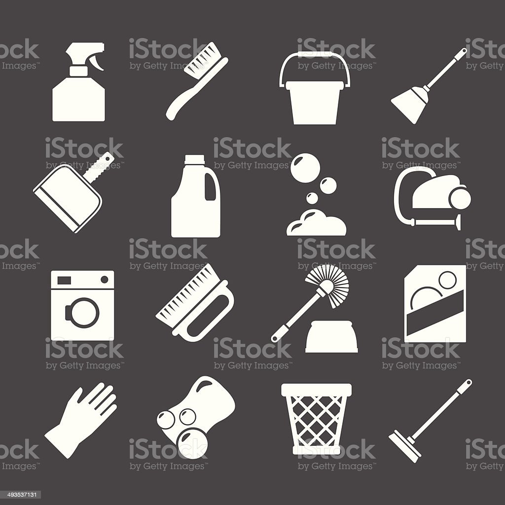 Set icons of cleaning vector art illustration