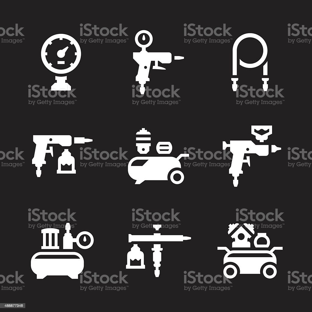 Set icons of compressor and accessories vector art illustration