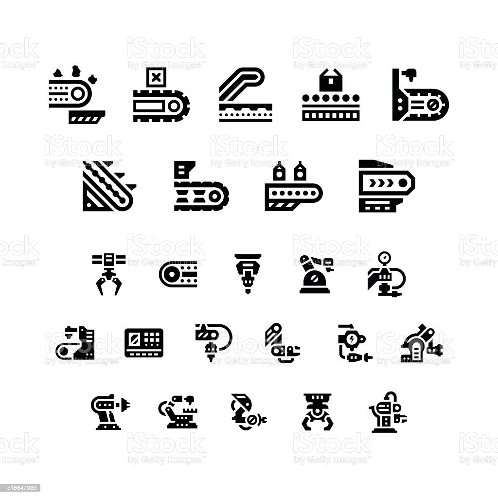 Set icons of conveyor and robotic industry vector art illustration