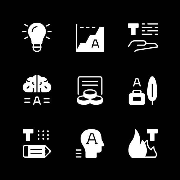 festlegen von symbolen des copywritings - storytelling grafiken stock-grafiken, -clipart, -cartoons und -symbole