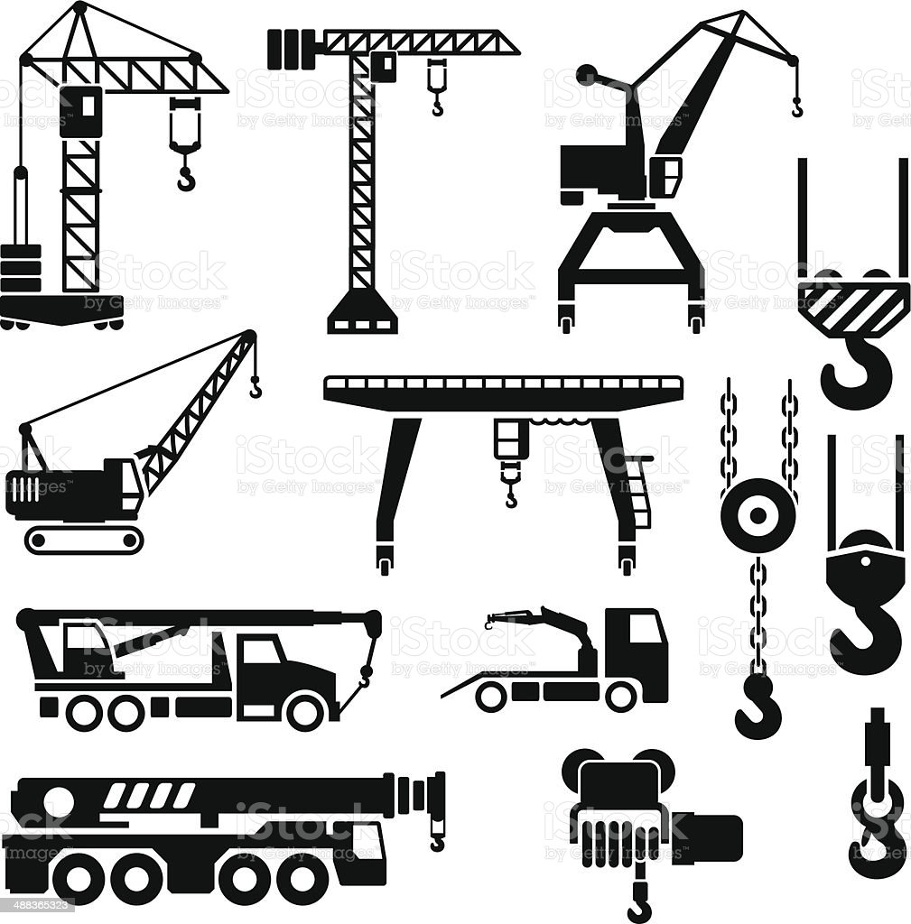 Set icons of crane, lifts and winches vector art illustration