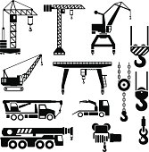 Set icons of crane, lifts and winches