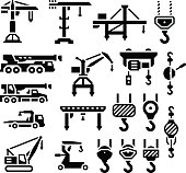 Set icons of crane, lifts, winches and hooks
