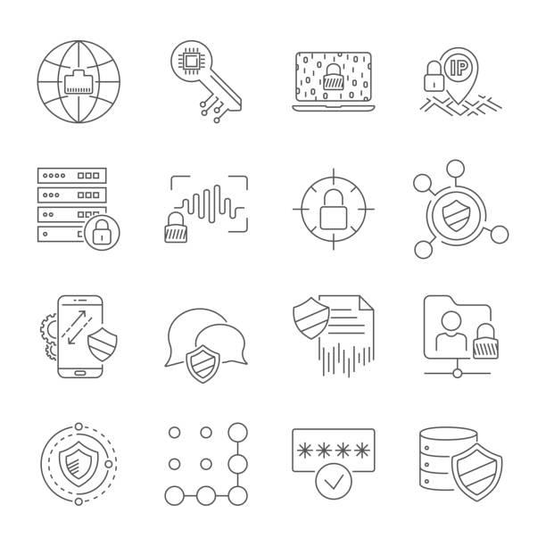 setzen sie icons des cyberschutzes und der internetsicherheit. die technologien für digitale sicherheit. vector line icons. bearbeitbare stroke. eps 10 - abwehr stock-grafiken, -clipart, -cartoons und -symbole