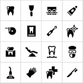 Set icons of dental isolated on white. This illustration - EPS10 vector file.