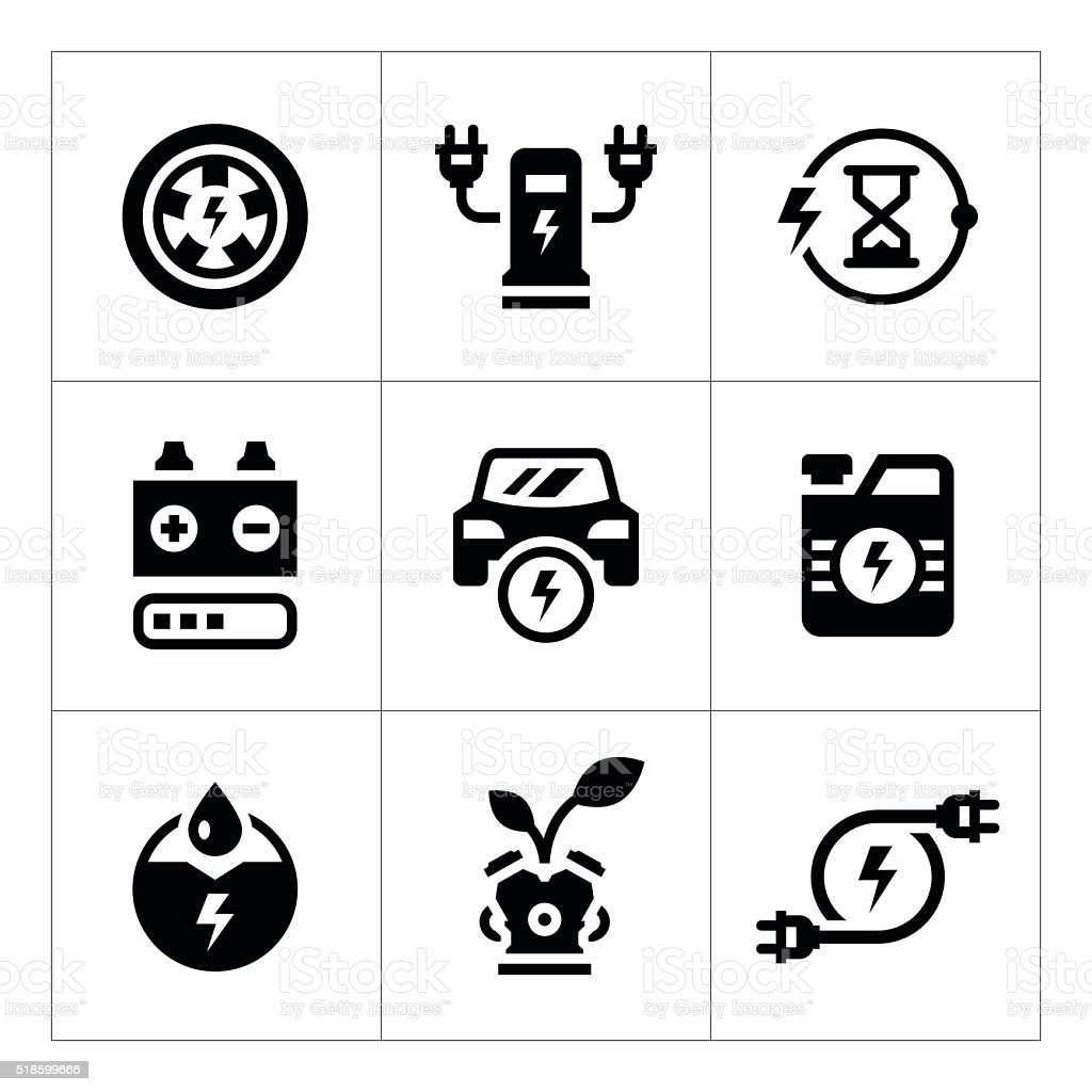 Set icons of electric car vector art illustration