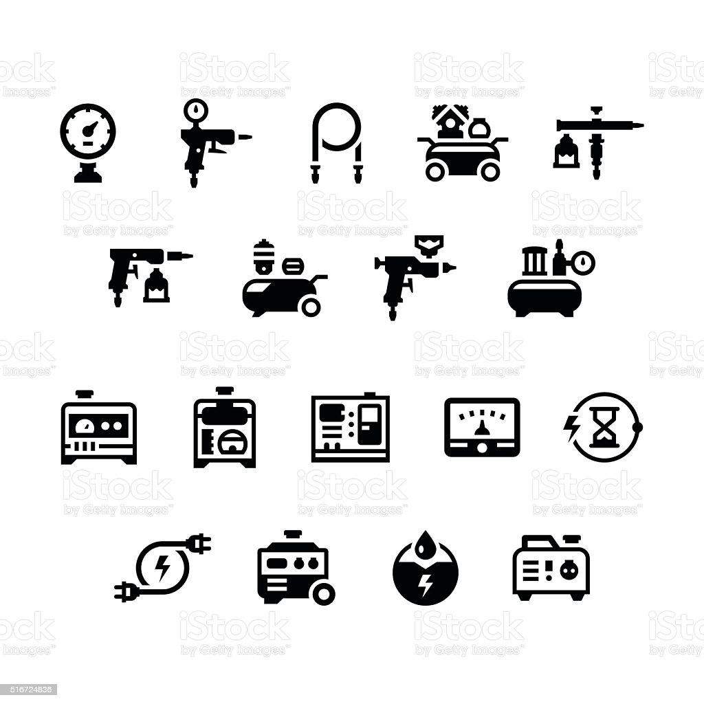 Satz Symbole Von Elektrischer Generator Und Luftkompressor Stock ...