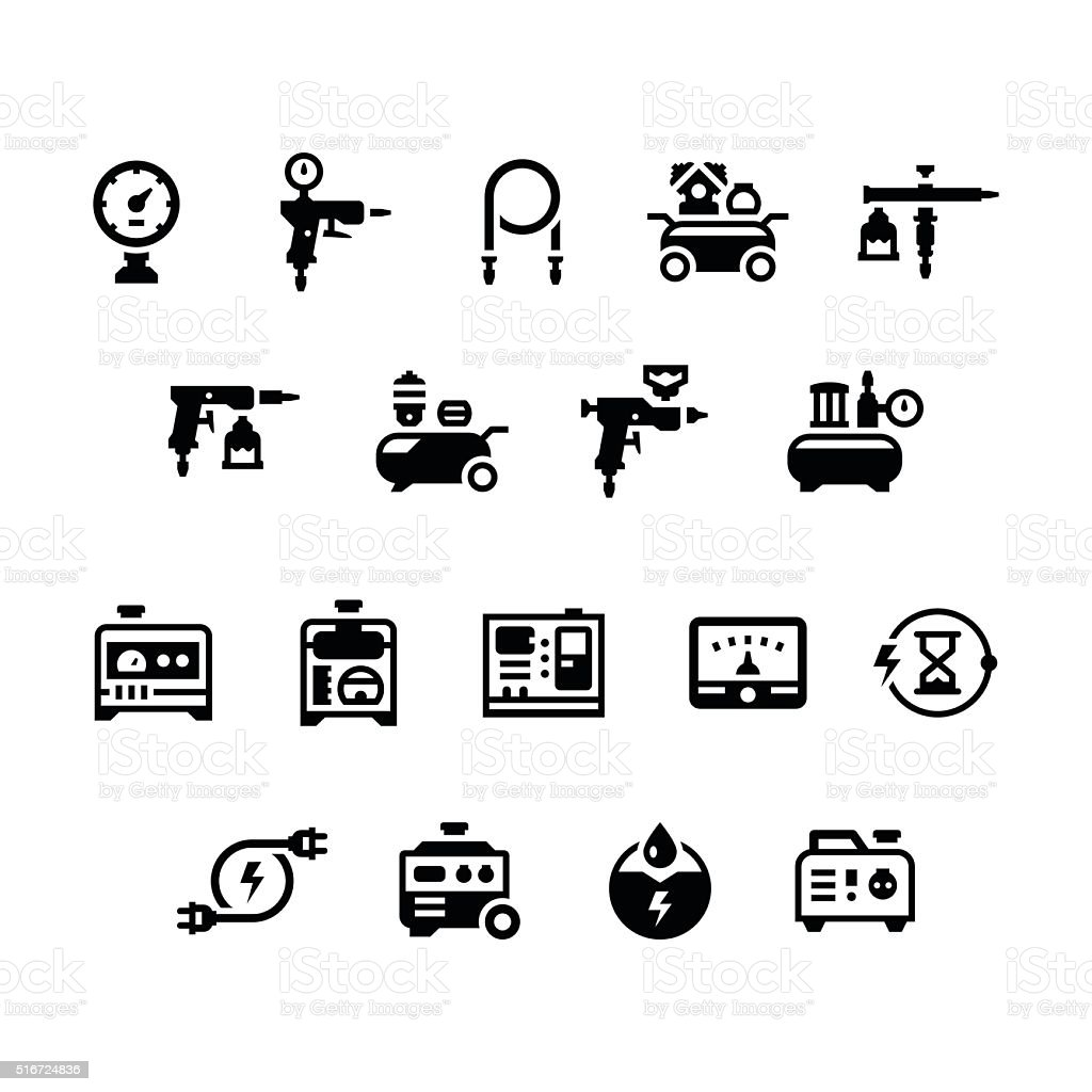Set icons of electric generator and air compressor