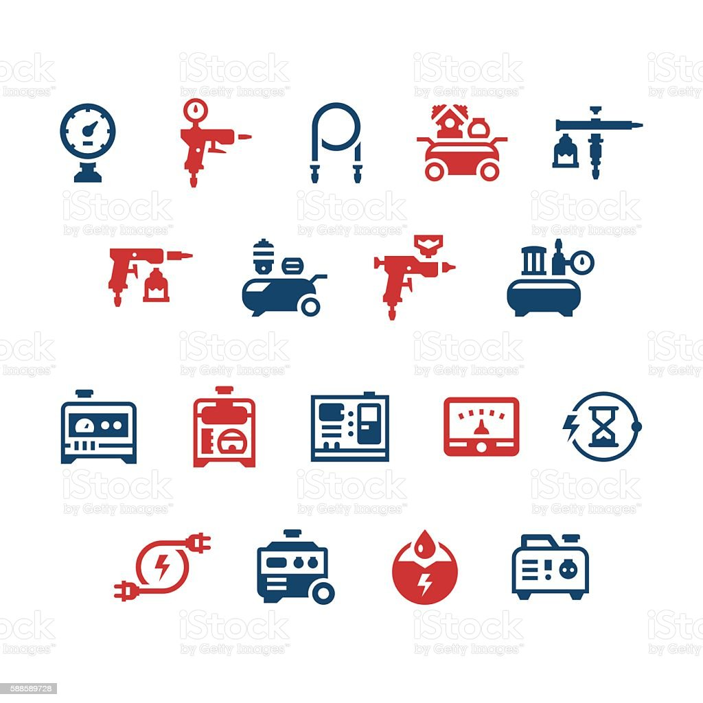 Set icons of electric generator and air compressor vector art illustration