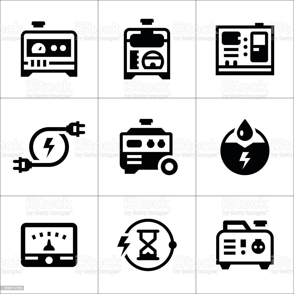 Satz Symbole Von Elektrischer Generator Stock Vektor Art und mehr ...