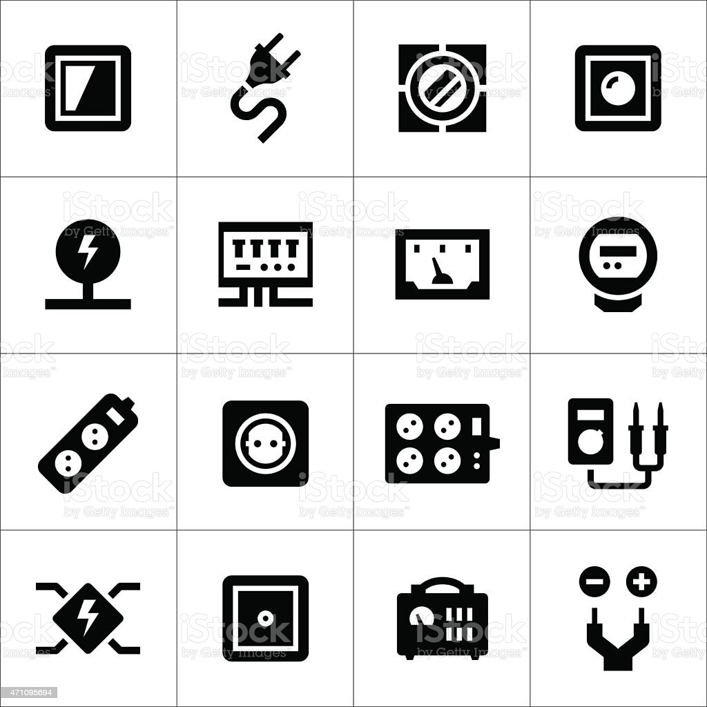 Set icons of electricity vector art illustration