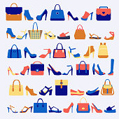 Vector Set icons of accessories fashion bags and shoes illustration