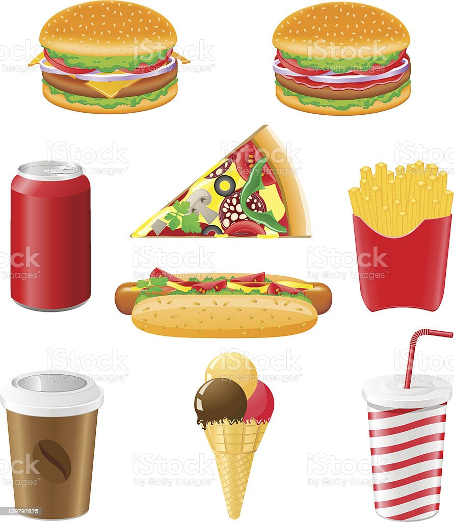 set icons of fast food vector illustration royalty-free stock vector art