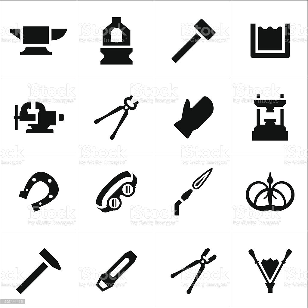 Set icons of forge vector art illustration