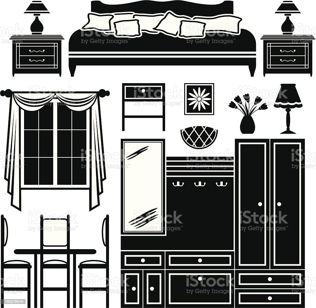 Set icons of furniture royalty-free stock vector art