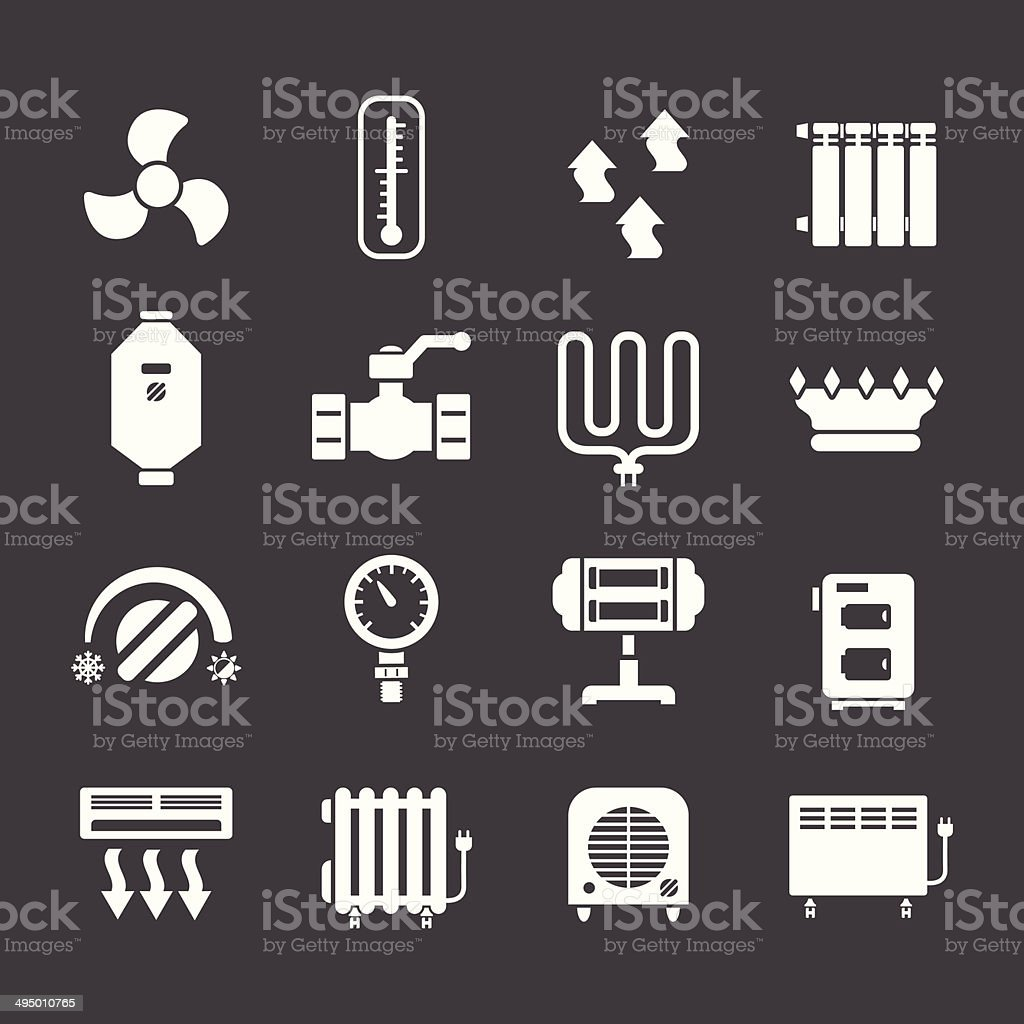 Set icons of heating vector art illustration